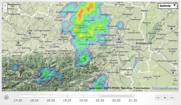 Screenshot von der Gewitterkarte