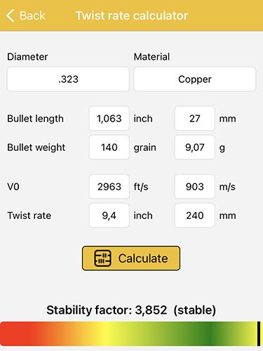 reloada mobile - twist rate calculator